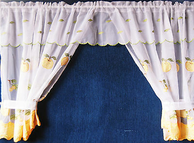 BACKING /&  ROPE TIEBACKS SET OF 2 GENEVI CURTAIN PANELS WITH ATTACHED VALANCE