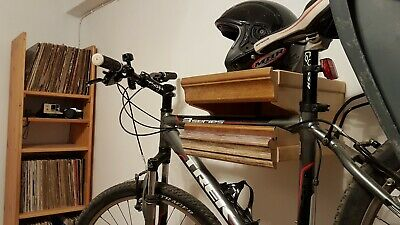 Bike Hang Hanger Wood Wooden Lift Wall Mount Bike Rack Handmade Blue Wish One Of