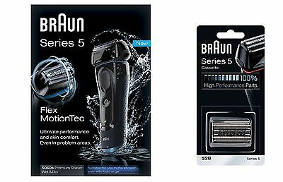 Braun 5040s Mens Electric Shaver, Wet & Dry + Extra Foil Cutter Cassette 52b NEW