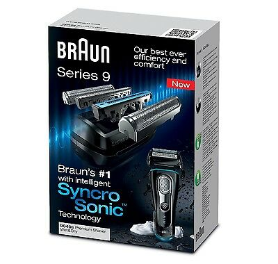 Braun 9040 Mens Electric Shaver - Wet & Dry With Syncro Sonic Technology New