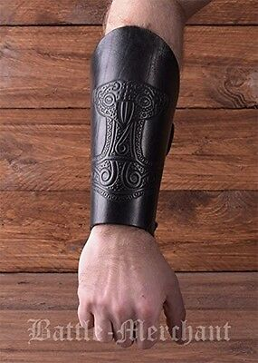 Leather Cuff Bracer Arm embossed Antique Black Sleeve Medieval Viking Guard Thor