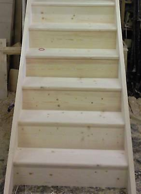 Made to measure straight wooden solid pine kit form staircase, Assembled!