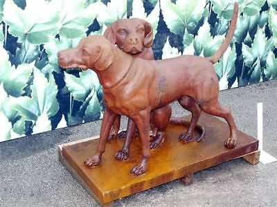 Rustic Cast Iron Twin Hounds Dog Garden Sculpture or Garden Statue On Stand