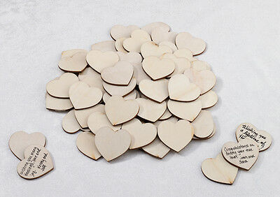 Wedding Wooden Signing Hearts Set Of 48 Guest Book Alternative Wedding Reception