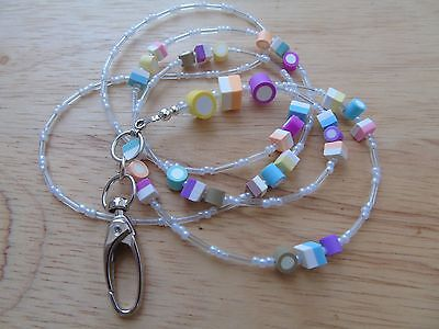 "Beaded ""Candy"" Lanyard For ID Badge / Pass,Card Holder Necklace"