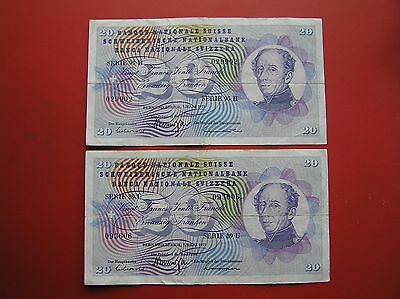 Two 20 Swiss franc banknotes 1973 no. 029902 & 093606 (ref e1103)
