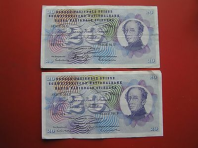 Two 20 Swiss franc banknotes 1973/74 no. 053064 & 026584 (ref e1103)