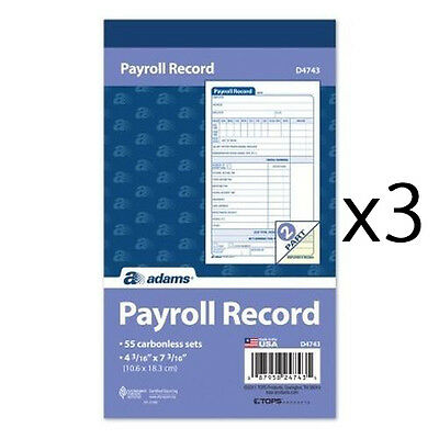 Adams D4743 Employee Payroll Record Book - 3 Books of 55 Sets - 2 Part