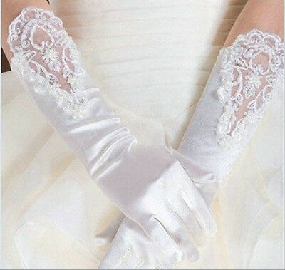 Lace Ivory White Finger Bridal Wedding Pearl Gloves Elbow long bride accessories