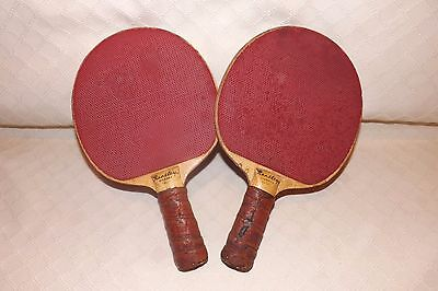 Vintage BENTLEY Ace table tennis paddles with leather hand grips
