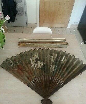 """Vintage Large Hand Painted fan 24"""" shabby chic"""