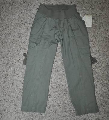 NWT $48-Motherhood Maternity Underbelly Green Cargo Capris Crop Pants-sz S & L
