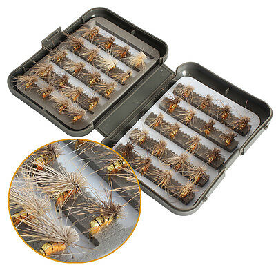 Fly Fishing Flies with Box 40pcs Salmon Dry Insects Fly Fishing Flies Lures Bait