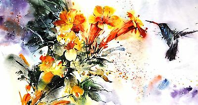 Modern Abstract Canvas Painting Watercolour Print Wall Art Picture Bird Flowers