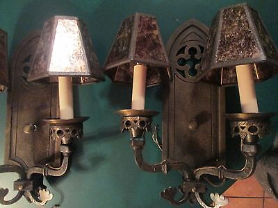 Pair of Antique Two Arm Brass Sconces,  Church Style Revival Excellent Shape