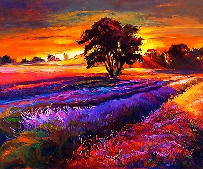 """Abstract Canvas Painting Print Sunset Tree Wall Art Home Bar Picture 20""""x24"""""""