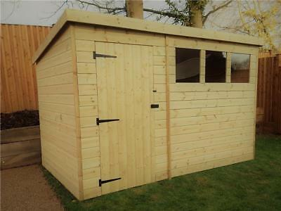 10X6 Garden Shed Shiplap Pent Shed Tanalised Windows Pressure Treated Door Left