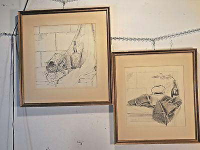 Pair of Framed Pencil Drawings by J. A. Kish