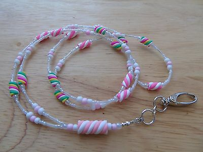 "Beaded ""Marshmallow"" Lanyard For ID Badge / Pass,Card Holder Necklace"