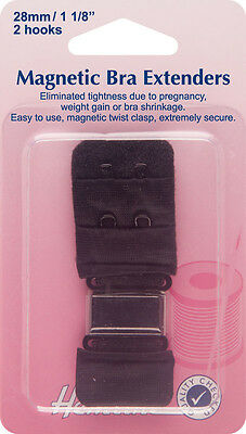 Hemline - Magnetic Bra Extender: Black - 28mm Relieves Tightness No Sew