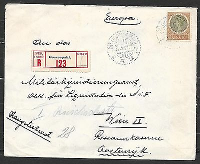 Netherlands Indies covers 1920 22 1/2c R-cover GOEROEPAHI to Vienna