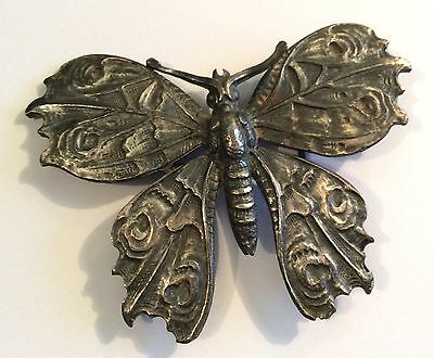 Vintage Nouveau Revival pewter butterfly buckle
