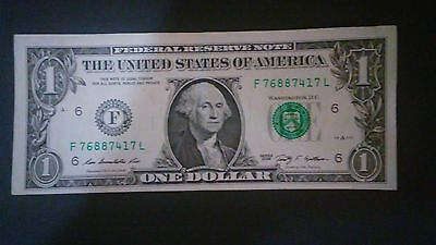 Error Faulty Alignmen Us One Dollar 2009 Federal Reserve Note Ser# F76887417L
