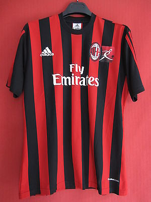 Maillot Milan Ac Fly Emirates Football Adidas Maglia Vintage shirt Calcio - S