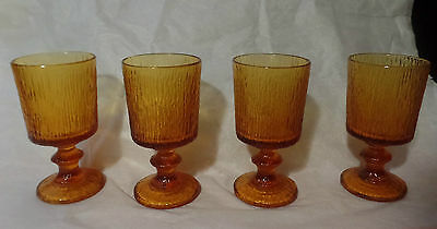 Vintage SET of 4 AMBER Iced TEXTURED Footed Glass GOBLETS