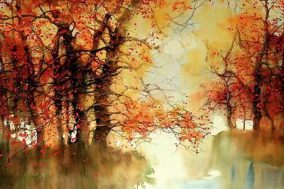"""Abstract WaterColour Red Trees Canvas Painting Print Modern Wall Art 24""""x36"""