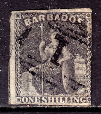 "1859 BARBADOS IMPERF #9 1sh BLACK, VG, ""1"" in GRID CANCEL"