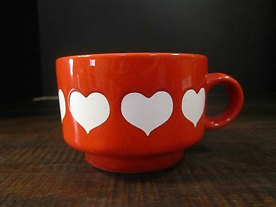 Waechtersbach West Germany Red with White Hearts Pottery Cup
