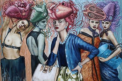 "Stunning Canvas Painting Modern Ladies Print Wall Art Picture 24""x36"""