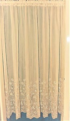 Ritz Cream Voile Straight With Sparkly Embroidered Base Net Curtain.
