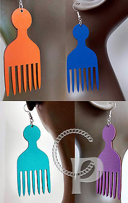 Laser cut wooden Afro pick Africa earrings large sizes turquoise red,pink, black