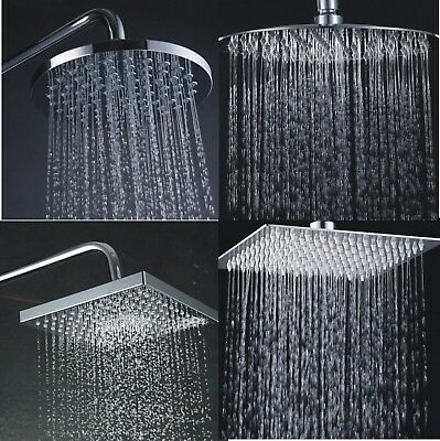 "Round Square Large 8"" Chrome Stainless Steel Water Rainfall Overhead Shower Head"