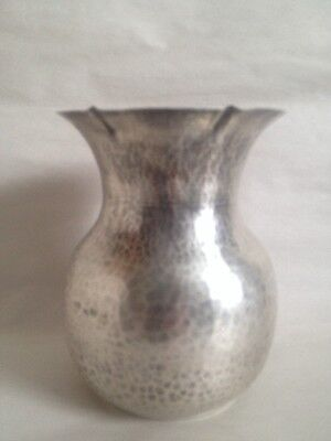 Exquisite Antique Sterling Silver Hand Hammered Vase Made In Greece