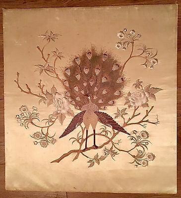Antique Chinese Silk Embroidered Bird Peacock Panel Wall Hanging