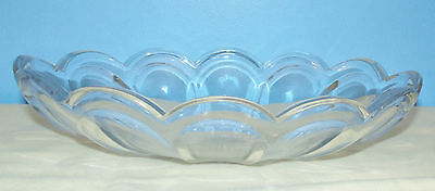 """Vintage Heisey Signed Clear Glass 9"""" Oval Bowl in Colonial Pattern"""