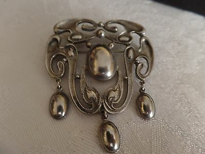 Art Nouveau large dangle brooch silver Jugendstil pin