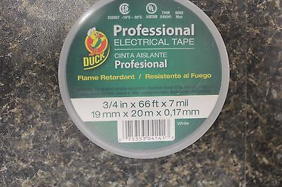 """New 300877 Duck Electrical Tape 3/4""""x66' White 4Pk New"""