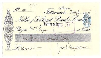 NORTH OF SCOTLAND BANK LIMITED cheque - Fettercairn 1924 a nice large cheque