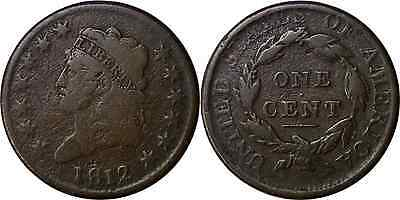 1812 1C BN Classic Head Large Cent Very Good Details