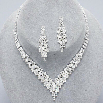 Bridal diamante necklace set crystal sparkly prom clear rhinestone party 0346