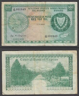 Cyprus 500 Mils 1979 (aVF) Condition Banknote P-42c