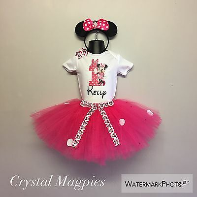 Personalised First Birthday Minnie Mouse Tutu Outfit Cake Smash Rhinestone Skirt
