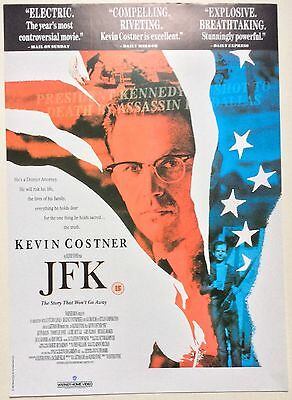 Jfk / Oliver Stone / Original Vintage Video Film Poster / Kevin Costner 5