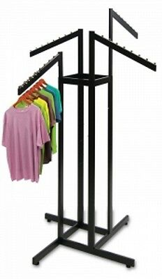 "Clothing Rack 4 Way Slant Arms Black Clothes Adjustable 48-72"" H Retail Display"