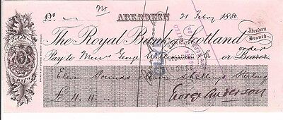 THE ROYAL BANK OF SCOTLAND cheque from 1881