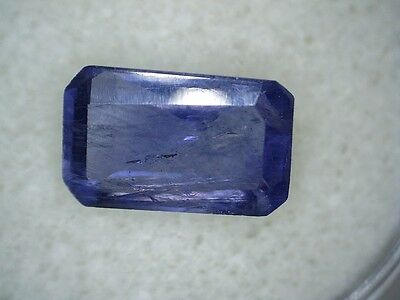 3.84ct NATURAL PURPLE/BLUE AMETHYST EMERALD CUT RECTANGLE